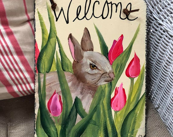 Easter welcome sign, Easter Bunny Door hanger, Painted slate welcome sign for Easter, Painted Slate, Spring door hanger, Easter Decor,
