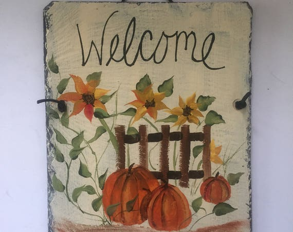 Painted slate Fall welcome sign, Fall Door hanger, Fall decorations, Autumn welcome sign, Autumn door decor, Outdoor fall decoration