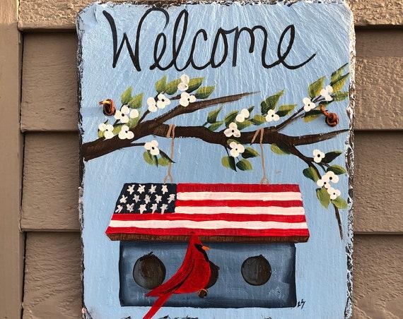 Independence Day Door Hanger, Spring decor, Painted Slate, Summer Door Decor, Door hanger, Fourth of July decoration, Spring welcome Sign