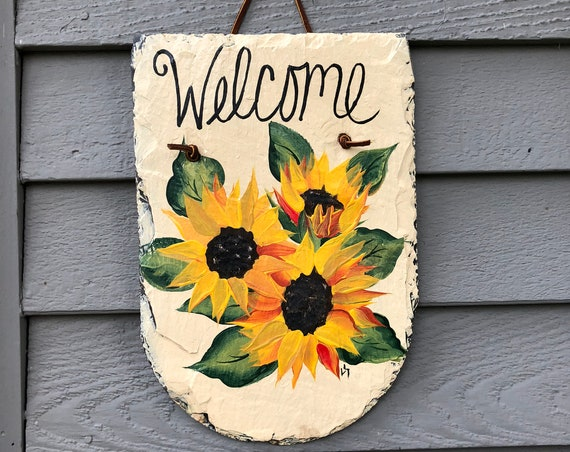 Hand Painted slate welcome sign, Sunflower door hanger, Fall door decoration, sunflower decor, Garden decor, welcome sign, Fall decor