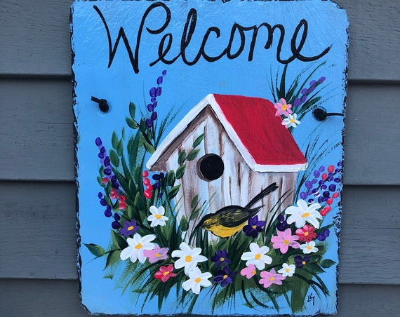 Garden sign, Welcome Sign, Painted Slate, Spring slate sign, Slate door hanger, spring door hanger, Door decor, Garden decor, porch decor