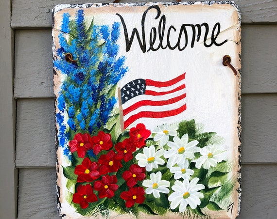 July 4th painted slate, porch Welcome sign, Summer decor, Summer Door Decor,Hand painted slate, Fourth of July decoration, Patriotic sign