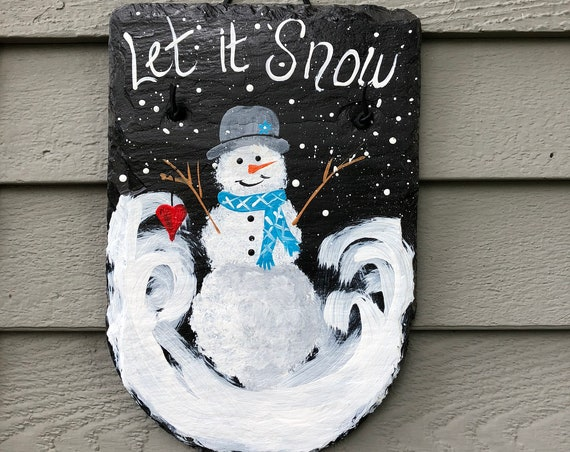 Painted Snowman welcome sign, Snowman slate, painted slate, Winter decorations, Front door hanger decor, Snowman Art, Customized