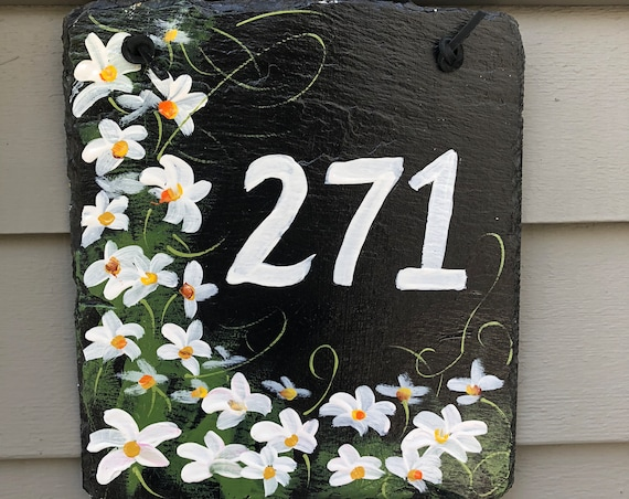 House Number sign, Garden decor, Custom Hand Painted Slate Address Sign, Daisies House number plaque, Door hanger, Address plaque