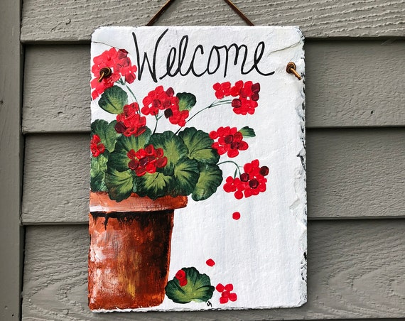 Hand Painted Slate Welcome Sign, Red Geraniums Welcome sign, Garden decoration, outdoor decor, deck decor, Door hanging, Yard Art
