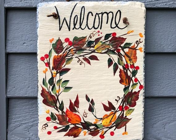 Slate welcome sign, Fall decoration for your door, Autumn door hanger, Fall door decor, Fall Wreath, welcome sign, Fall decor, Painted slate