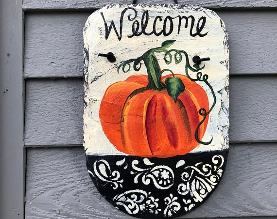 Pumpkin Painted Slate, Fall Porch Decor, Door decor, Painted slate sign, Fall decorations, Autumn welcome sign, welcome plaque, welcome sign