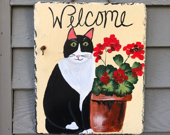 Welcome sign for Cat lovers, Painted slate, Cat Lover gift, Cat Lover door decoration, Painted welcome sign, Cat Welcome sign, Cat decor