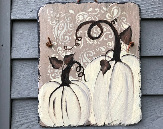 Pumpkin welcome sign, Fall Porch Decor, Personalized  pumpkins Slate Door hanger, Fall decorations, Autumn welcome sign, Thanksgiving decor
