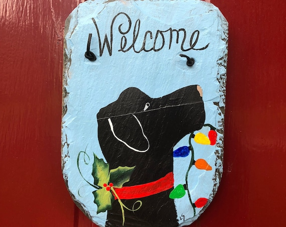 Christmas Welcome Sign, Christmas front door decoration, DoG Lover Gift Painted Slate, Door decor, Slate Door hanger, Christmas Decor