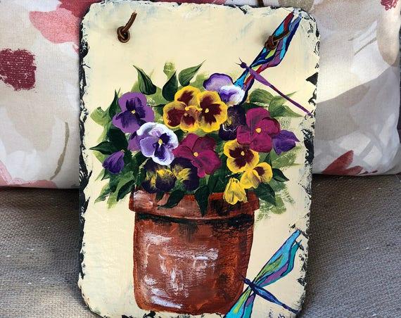 Spring Flowers Front door Decor, Easter door hanger, Painted slate sign, Painted Slate, Easter Decoration, Easter decor, welcome sign