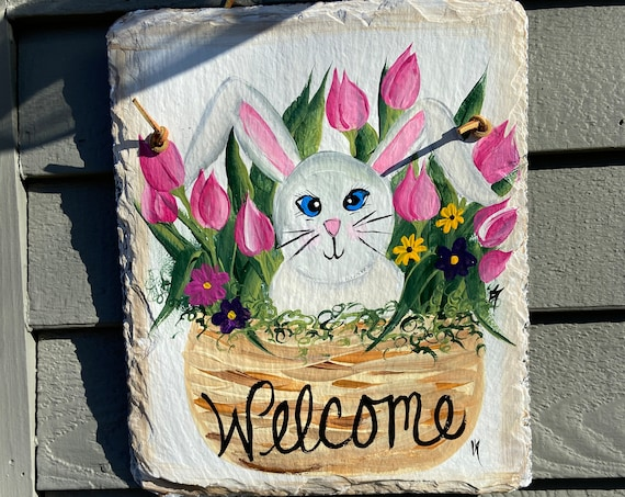 Spring welcome sign, Easter Door hanger, Easter sign, Painted slate welcome sign, slate sign, easter decor, Spring slate sign, spring sign