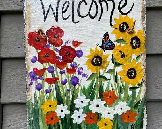 Hand Painted summer slate sign, Welcome plaque, welcome sign, Spring door hanger, garden decor, porch decor, Slate sign, painted slate