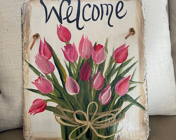 Hand Painted Easter sign, Tulips Welcome sign, Easter Door hanger, Spring Slate Sign, Easter decor, Spring slate, Slate welcome plaque