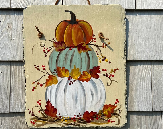 Pumpkin slate sign, welcome plaque, door hanger, Pumpkin slate, Fall sign, welcome sign, Painted slate, slate sign, porch decor