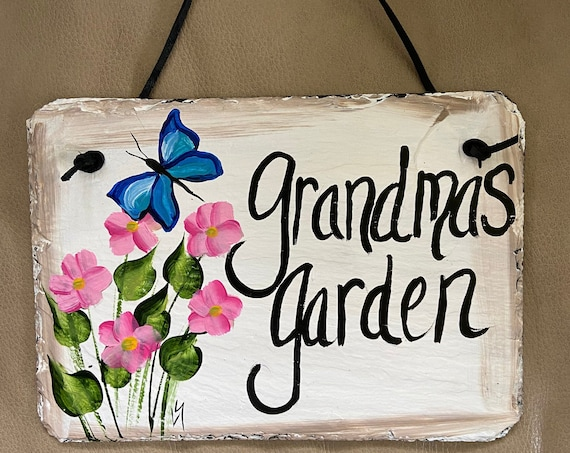 Garden sign, Grandma's garden sign, Painted garden slate sign, garden signs, painted slate, garden decor, slate sign, Grandmother gift