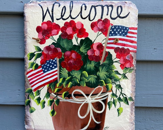 Patriotic slate sign, Summer Slate sign, July fourth welcome plaque, Painted slate, Summer Door hanger, Deck Decor, Porch Decor, Slate sign
