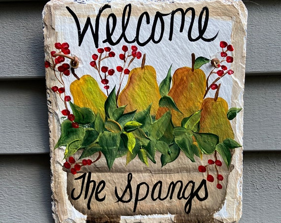 Painted slate sign, Painted Slate welcome sign, Slate plaque, Welcome plaque,  Welcome Sign, door hanger, Summer door hanger, welcome