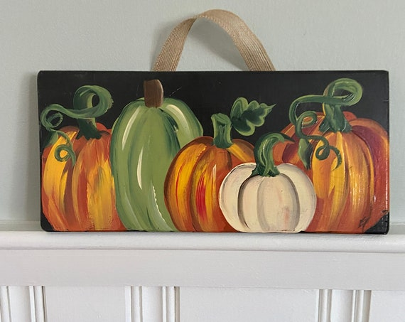Hand painted wood pumpkin sign, Thanksgiving wood decor, pumpkin wall hanging, fall wood sign, porch decor, shelf sitter, pumpkin art