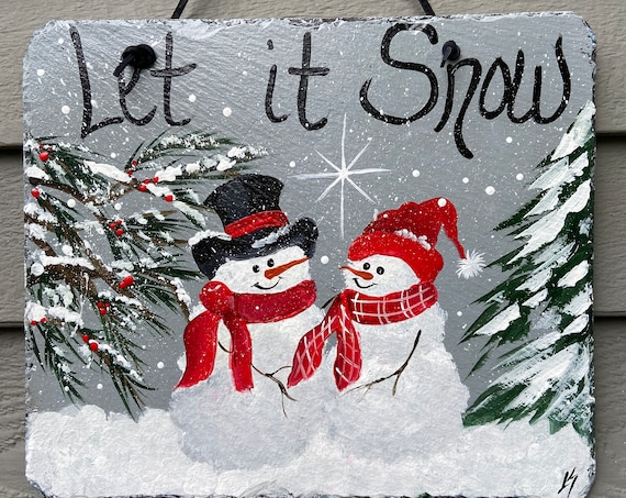 Winter slate sign, Welcome plaque, Winter door hanger, Painted snowman slate, Snowman welcome sign, Painted slate, slate sign, slate plaque