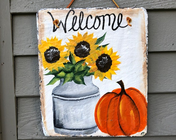 Personalized Fall Slate sign, slate welcome sign, Sunflowers slate sign, painted slate, welcome sign, Fall welcome plaque, Fall door hanger