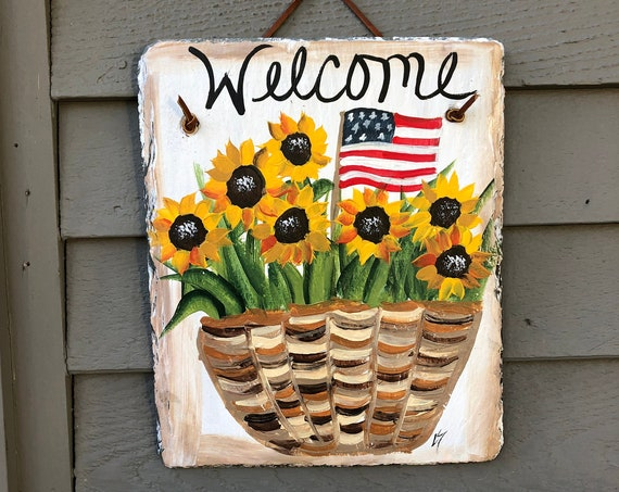 Painted slate sign, July fourth decoration, slate welcome sign, Fall door hanger, sunflower slate sign, sunflower slate, porch decor