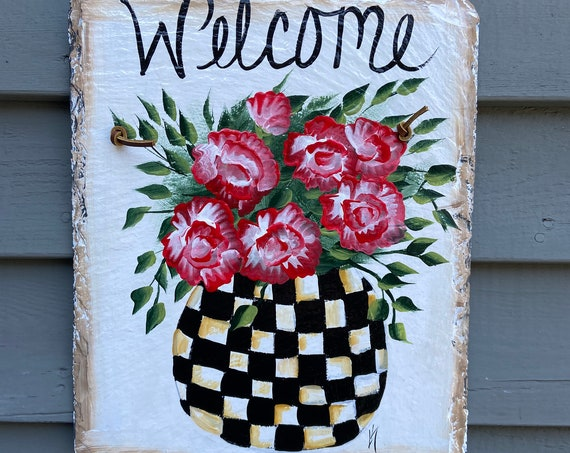 Slate Welcome Sign, Painted Slate, Front door decor, Slate door hanger, spring door hanger, slate sign, Garden decor, mom gift, porch decor