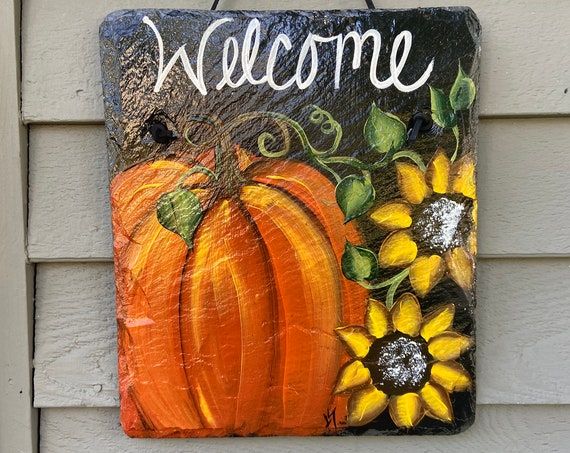 Pumpkin Slate plaque, Fall sign, Porch Decor, Painted slate, Fall decor, Slate welcome sign, slate sign, Fall door hanger, Painting on slate
