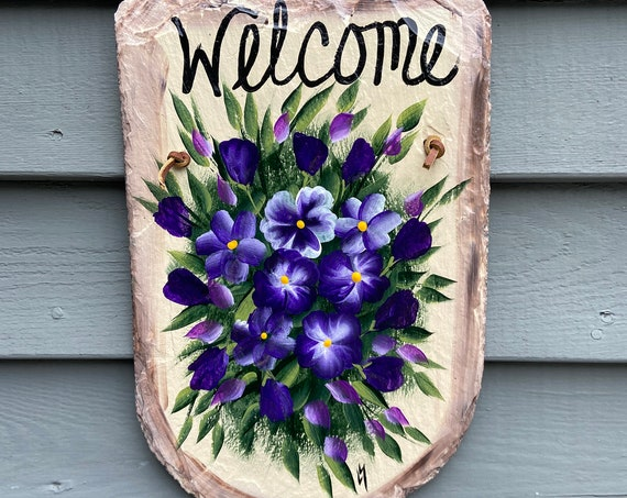 Slate Plaque, Hand painted slate welcome sign, Painted slate, Slate sign, summer sign, Summer door hanger, welcome plaque, deck decor