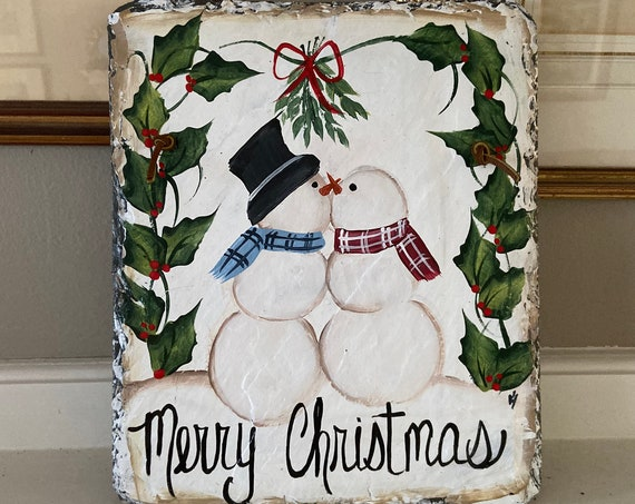 Painted slate sign, Snowman slate welcome sign, snowman slate sign, Christmas door hanger, Christmas slate, Christmas slate plaque, snowman