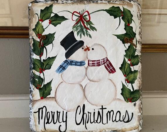 Painted Christmas slate sign, Merry Christmas sign, slate sign, Christmas door hanger, Christmas slate, Christmas slate plaque, snowman