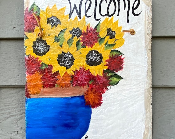 Hand Painted Slate plaque, Sunflower slate tile, Fall door hanger, painted slate, slate sign, painting on slate, porch decor, welcome sign
