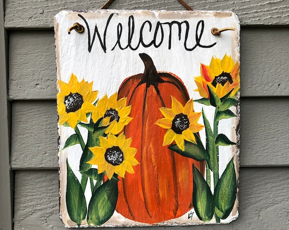 Fall slate plaque, Fall door decoration, Handpainted slate, Pumpkin Slate welcome sign, Fall decor, Fall sign, Slate sign, Painted slate