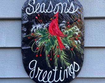 Cardinal welcome plaque, Winter slate sign, Christmas sign, Painted Slate, Painting on slate, Hand Painted slate plaque, Winter door hanger