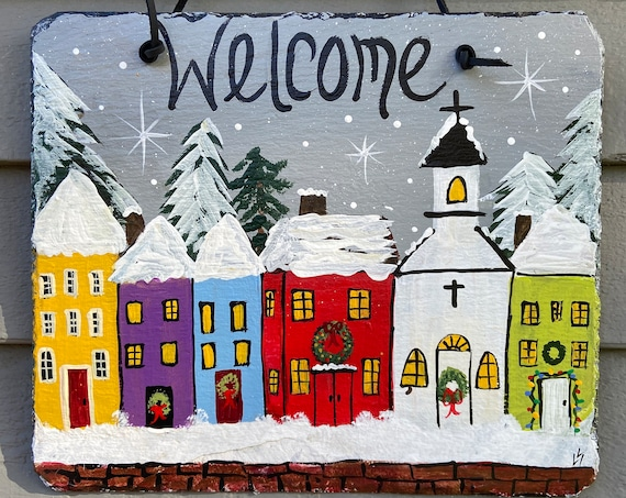 Hand Painted Winter Slate, Winter Welcome sign, Winter door hanger, Winter Slate Sign, Slate sign, Christmas slate, Slate welcome plaque