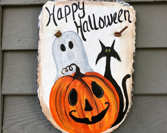 Halloween Painted Slate, Fall Porch Decor, Halloween Slate Door hanger, Halloween plaque, Halloween welcome sign, painted slate