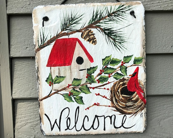 Slate Welcome sign, Painted slate tile, Slate welcome plaque, Winter Slate Sign, winter door hanger, Christmas slate, painting on slate