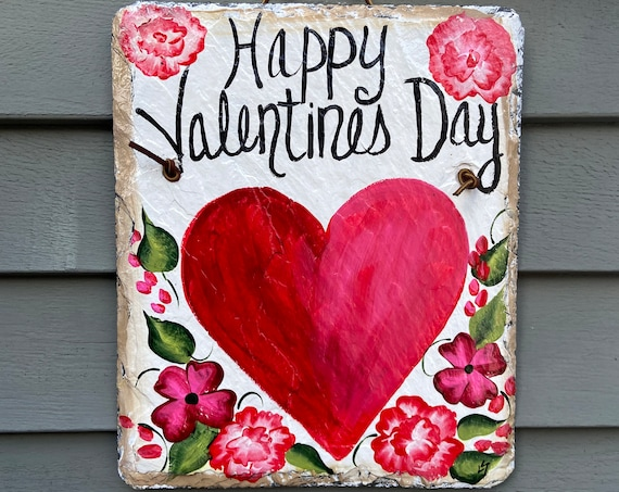 Valentine's Day slate sign, Valentine's Day slate door hanger, Valentine outdoor sign, Valentine's Day decor, Slate Sign, Painted slate sign
