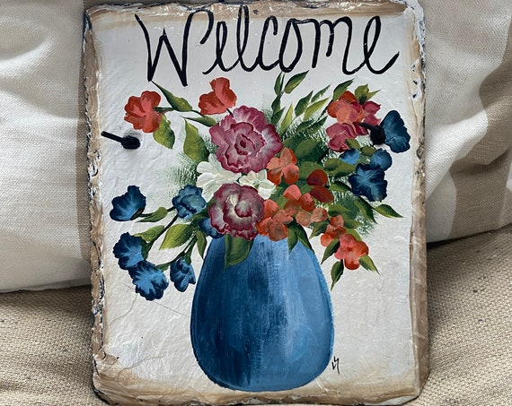 Painted Slate Sign, Summer Slate Sign, Spring Slate Signs ,Welcome Slate Sign, Painted Slate, Welcome Slate Sign, Front Door Slate Sign