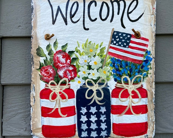Fourth of July painted slate sign, Summer slate sign, Hand painted slate, Fourth of July door hanger, Patriotic sign, painting on slate