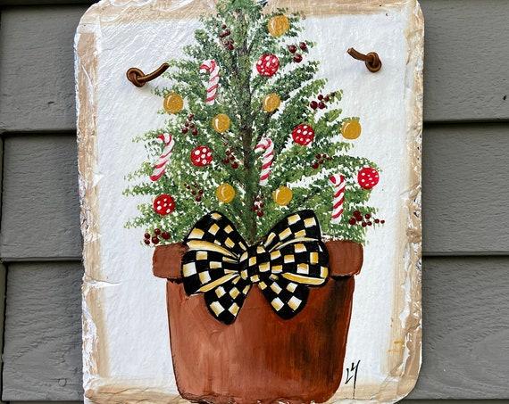Painted Christmas Tree Slate, Christmas Welcome sign, Painted Christmas Tree sign, Slate sign, Christmas slate, Slate welcome plaque