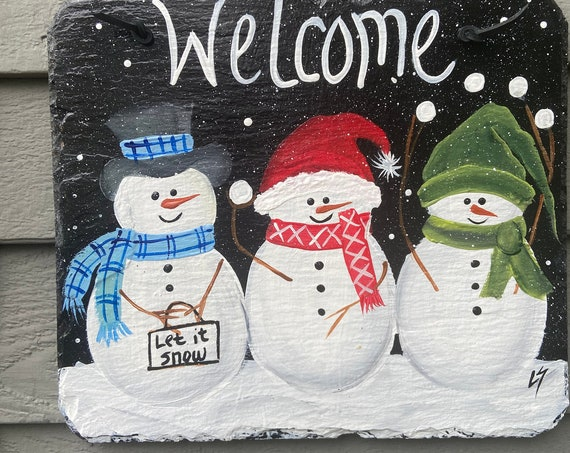 Painted slate tile, welcome plaque, door hanger, Snowman slate sign, Winter sign, welcome sign, Painted slate, slate sign, porch decor