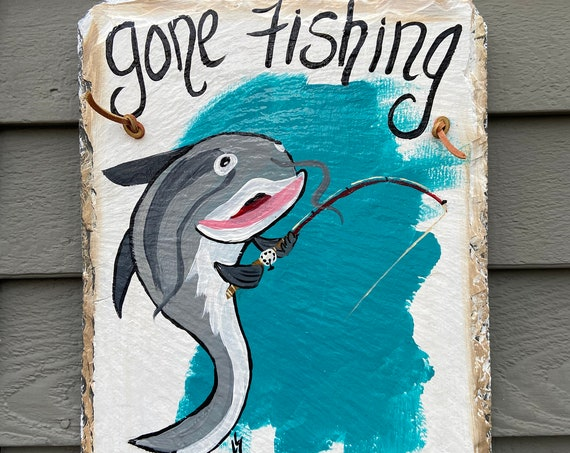 Fathers Day Gift, Gone Fishing sign, Hand Painted Summer Slate, Porch decor, Painted slate, Cabin decor, Gift for fisherman, Slate sign,
