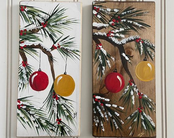 Hand painted wood Christmas wall hanging, Rustic christmas decor, Christmas shelf sitter, winter wood sign, porch decor, Christmas bulb
