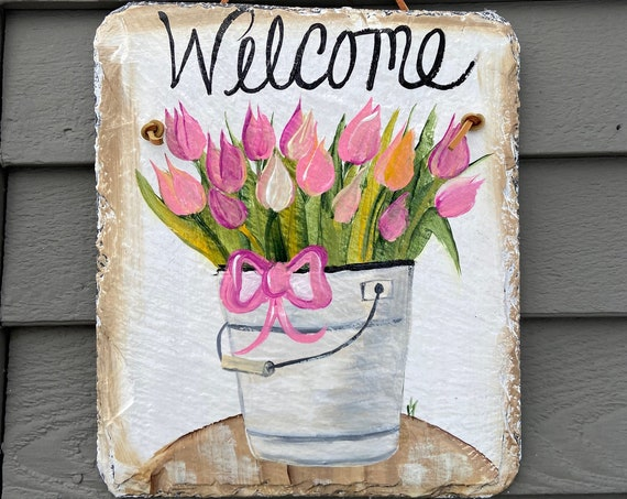 Easter slate sign, Slate welcome sign, painted slate, welcome plaque, Slate sign, Mother's Day gift, tulip door hanger, painting on slate
