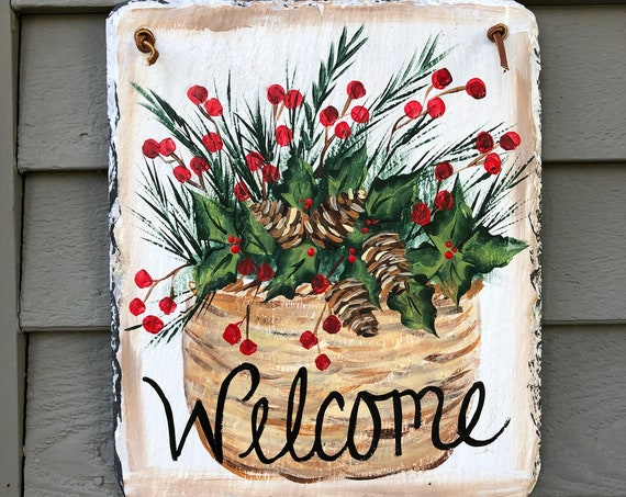 Winter Welcome sign, Winter Door hanger, Painted Slate, Winter Slate Sign, Holiday door hanger, Christmas welcome sign, Slate welcome plaque