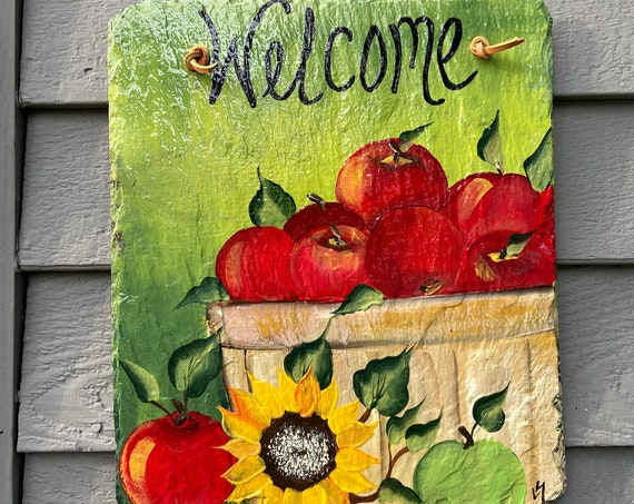 Painted slate tile, welcome plaque, door hanger, Apple slate sign, Fall sign, welcome sign, Painted slate, slate sign, porch decor, apples