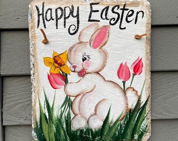 Spring welcome sign, Easter Door hanger, Easter sign, Painted slate welcome sign, slate sign, easter decor, Spring slate sign, spring sign