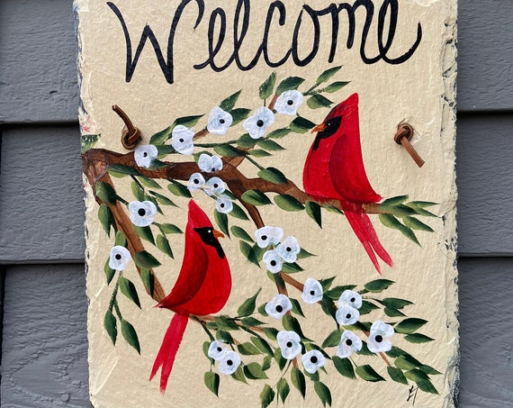 Slate welcome sign, Painted slate sign, Summer welcome sign, Red Cardinal sign, Slate sign, Summer door hanger, Welcome plaque, slate sign