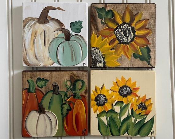 Fall shelf sitter, Painted wood Thanksgiving shelf sitter, Fall wood shelf art, Sunflower & pumpkin wood signs, fall decor, shelf sitter,